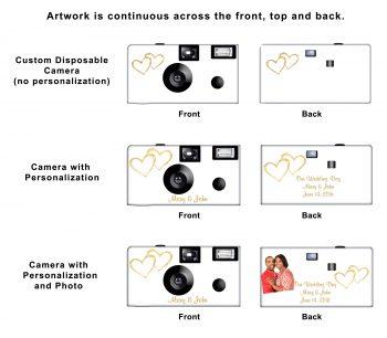 Gold Hearts Custom Disposable Camera