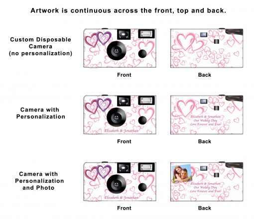 Wedding Hearts Custom Disposable Camera