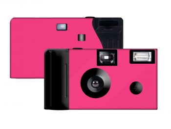 Hot Pink Background Custom Disposable Camera