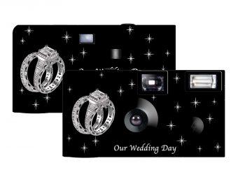 Shimmering Engagement On Black Custom Disposable Camera