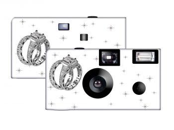 Shimmering Engagement on White Custom Disposable Camera
