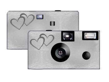 Silver Foil Coupled Hearts Custom Disposable Camera